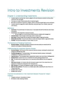 Introduction to Investments (125.241) exam notes