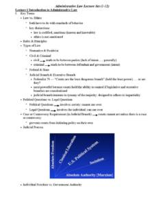 Administrative Law (PADP 6490) full lecture summaries