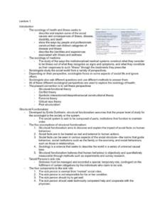 Sociology of Health (SOCI 2050) all lecture notes
