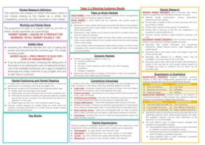 Edexcel AS & A Level Business Unit 1: Marketing and People revision notes