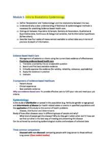 Foundations of Biostatistics and Epidemiology (EPID1000) course summary