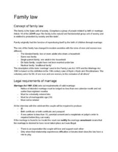 Family Law (HSC Legal Studies Option 3: Family) notes