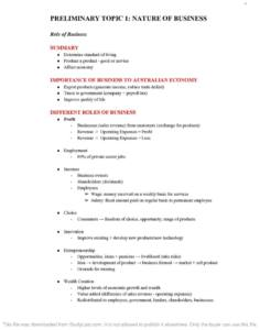 HSC Business Studies Preliminary full course notes