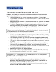 Workplace Law (HSC Legal Studies Option 6: Workplace) notes