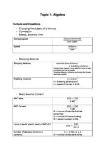HSC Mathematics Standard 2 (Year 11 & 12) notes