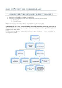 Intro to Property and Commercial Law (LAWS2012) exam notes