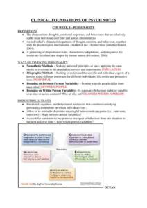 Clinical Foundations Of Psychological Science (PSY1CFP) lecture notes