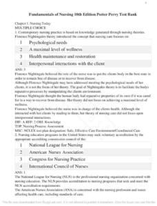 Fundamentals of Nursing 10th Edition test bank