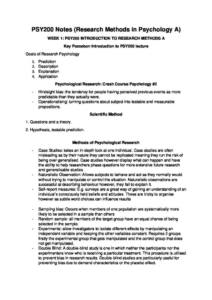 Research Methods in Psychology A (PSY200) complete course notes