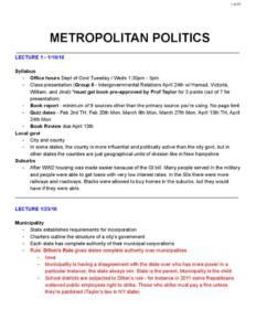 Metropolitan Politics (GOVT-240) notes