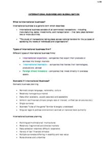 International Business Environment lecture notes