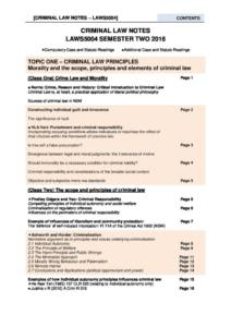 Criminal Law (LAWS5004/LAWS1016) notes and case guide