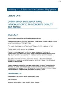 Law of Torts (NTU LLB) lecture notes