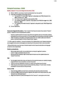 Biological Psychology (PSYC20006) exam notes