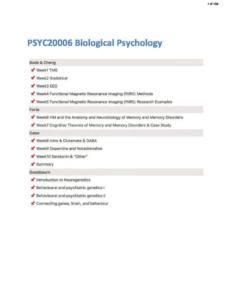 Biological Psychology (PSYC20006) comprehensive notes