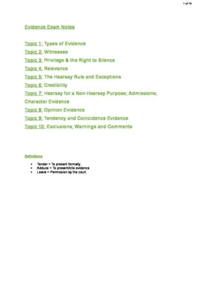 Evidence (70109) exam notes
