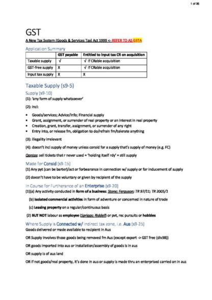 Taxation Law I (BLAW30002) exam notes