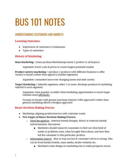 Business and Enterprise 1 (BUSINESS 101) exam notes