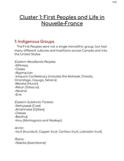 First Peoples and Nouvelle-France (to 1763) review