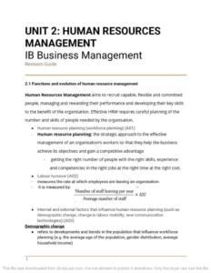 IB Business Management Unit 2: Human Resource Management notes