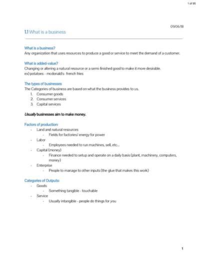 IB Business Management (HL) full notes