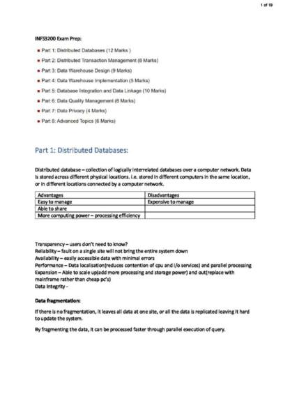 Advanced Database Systems (INFS3200) exam notes