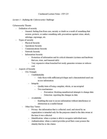 An Introduction to Information Security (ITP 125) lecture notes