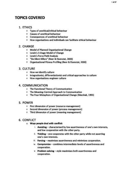 Organisational Behaviour (MGMT20001) exam notes