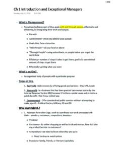 Principles of Management and Organizational Behavior (MGT 301) notes