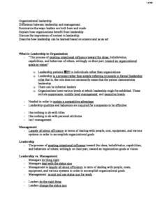 Leading Organizations (MGT 411) notes