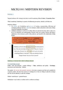 Marketing Principles (MKTG1001) midterm exam notes