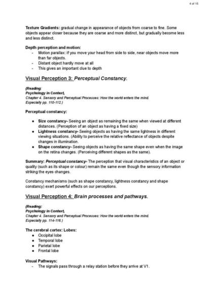Visual Perception, Language and Emotion (PSYCH 109G) exam notes