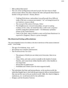World Revolutions (HIST 3383) lecture notes