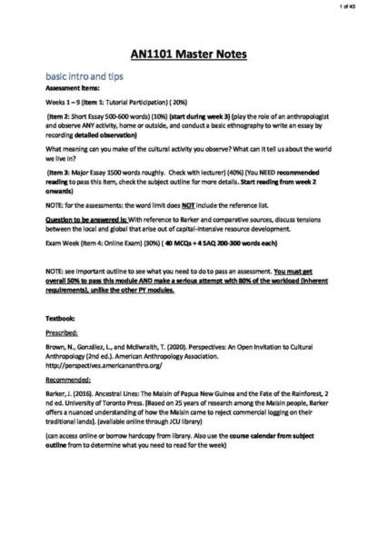 Anthropology (AN1001) full summary HD notes