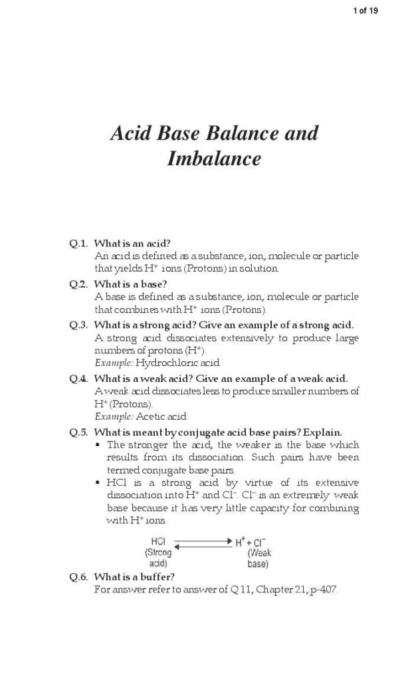 Acid Base Balance and Imbalance quiz with answers