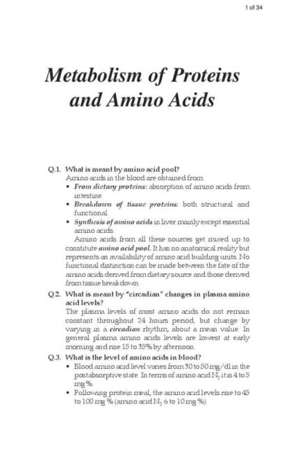 Amino Acid Metabolism quiz with full answers