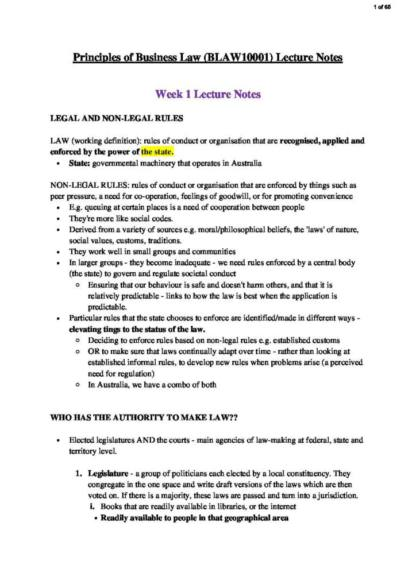 Principles of Business Law (BLAW10001) lecture notes + case summaries