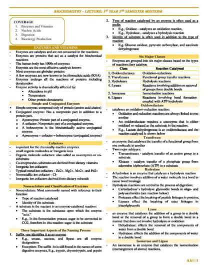 Biochemistry for Fundamentals of Nursing exam (Midterm) notes