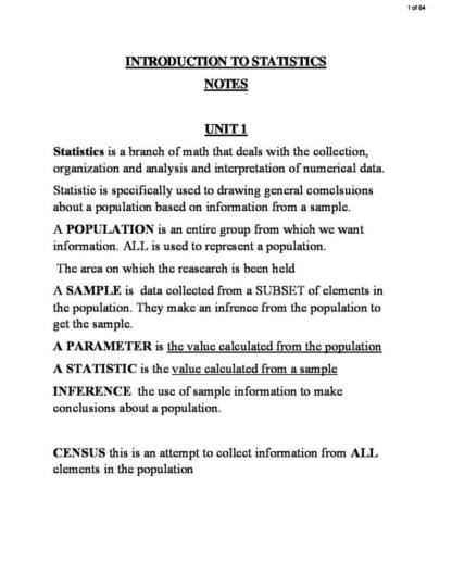 Introductory Statistics (ECON1005) class notes