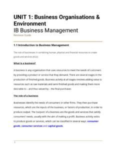 IB BM Unit 1: Business Organization and Environment revision notes