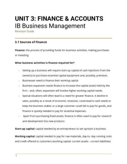 IB BM Unit 3: Finance and Accounts revision notes
