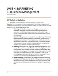 IB Business Management Unit 4: Marketing revision notes
