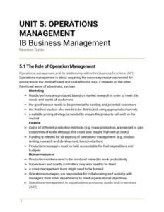 IB Business Management Unit 5: Operations Management revision notes