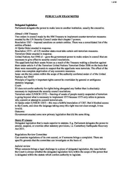 Public Law (LAW 211A/B) A+ revision notes