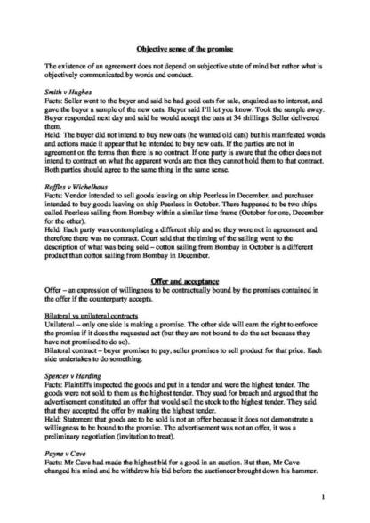 Law of Contract (LAW 241) revision notes