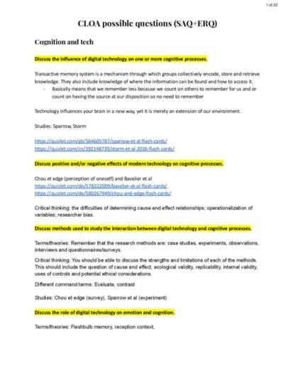 Cognitive Level of Analysis (CLOA) ERQ (Psychology HL) model exam Q and A