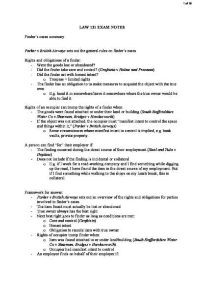 Legal Method (LAW 131) exam notes