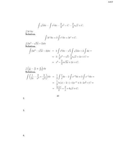 Integral Calculus (MATH 180) problem solutions